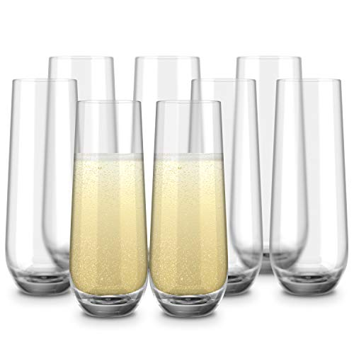 Stemless Champagne Flutes, by Kook, Durable Glass, Set of 8, 10.5oz, Mimosa Glasses Set, Cocktail Glass Set, Toasting Wedding Glasses