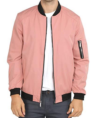 WULFUL Mens Casual Lightweight Jacket Softshell Flight Bomber Jacket Varsity Coat (Pink, Medium)