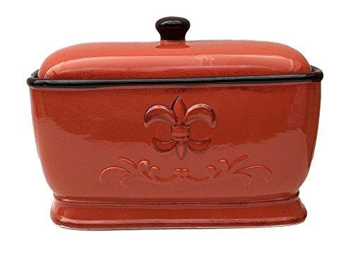 Tuscany Fleur De Lis Bread Box/Toast Jar Color: Burnt Orange