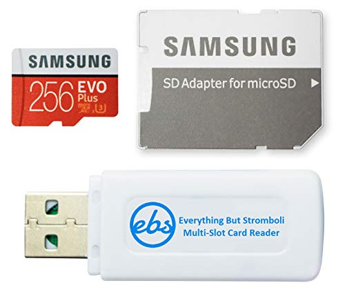 Samsung 256GB Evo Plus Class 10 MicroSD Memory Card Works with Galaxy Tablet Tab S5e, Tab S4 10.5, Tab 10.1 (2019), Book S (MB-MC256G) Bundle with (1) Everything But Stromboli Micro Card Reader