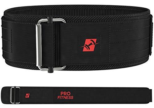 ProFitness 4 Inch Wide Weight Lifting Belt (Medium, Black/Red)