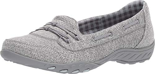 Skechers Relaxed Fit Breathe Easy Good Influence Womens Slip On Sneakers Gray 7 W