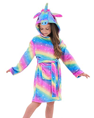 Soft Unicorn Hooded Bathrobe Sleepwear - Unicorn Gifts for Girls (8-9 Years, Rainbow Galaxy)