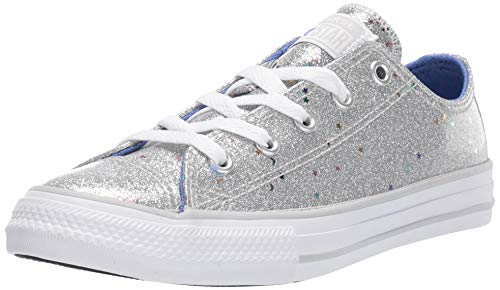 Converse Girls' Chuck Taylor All Star Galaxy Glimmer Sneaker, Silver/Ozone Blue/White, 2 M US Little Kid