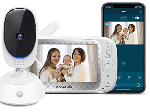 Motorola Connect40 Video Baby Monitor - 5' Parent Unit and HD Wi-Fi Viewing for Baby, Elderly, Pet - 2-Way Audio, Night Vision, Temp Sensor, Remote Pan/Digital Zoom