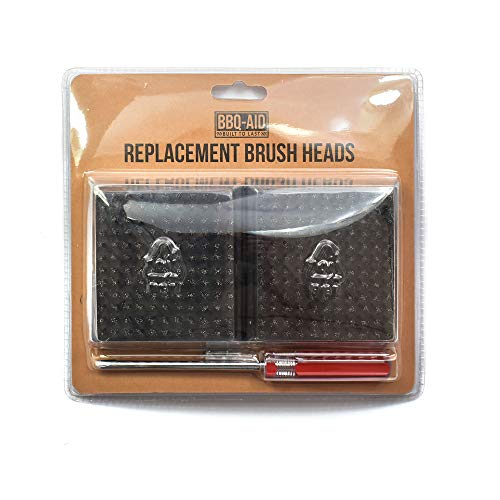 BBQ-Aid Replacement Grill Brush Heads 3.9' x 3.5' - Designed for 2020 Model - Screwdriver Included - Multi-Pack - for Grill Brush and Scraper – No Scratch Cleaning for Any Grill: Char Broil & Ceramic