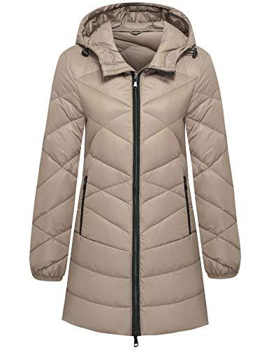 Wantdo Women's Water-Resistant Hooded Packable Ultra Light Down Jacket Khaki M