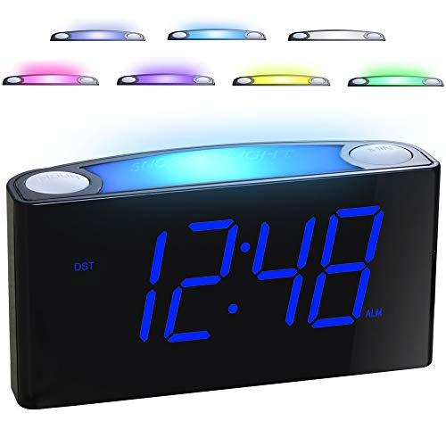 "Alarm Clock for Bedrooms - 7 Color Night Light,2 USB Chargers, 7"" Large LED Display with Slider Dimmer, 12/24 H,Battery Backup, Plug-in Loud Alarm Clock for Heavy Sleeper,Teen,Elderly, Boys&Girls Kids"