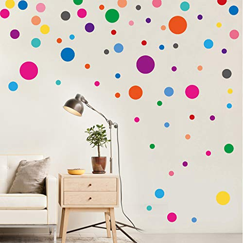 PARLAIM Wall Stickers for Bedroom Living Room, Polka Dot Wall Decals for Kids Boys and Girls (130 Circles)