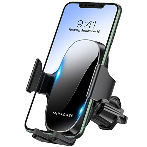 【2021 Upgraded】 Miracase Car Phone Mount, Air Vent Cell Phone Holder for Car, Universal Car Phone Holder Cradle Compatible with iPhone 12 Pro Max/12/11 /11 Pro Max/XR/Xs/8/7,S10+ and More