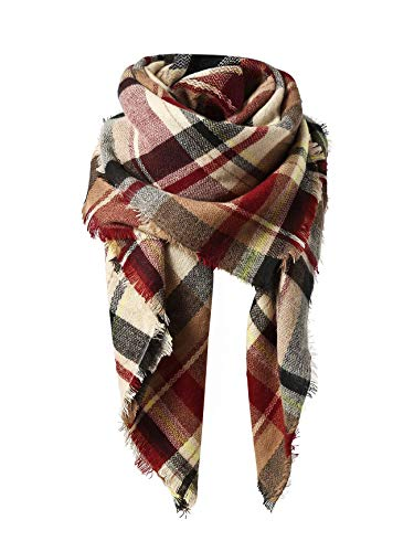 Trendy Women's Cozy Warm Winter Fall Blanket Scarf Stylish Soft Chunky Checked Giant Scarves Shawl Cape (One Size, Pink Scarf)