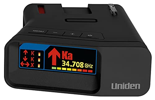 Uniden R7 Extreme Long Range Laser/Radar Detector, Built-in GPS w/Real-Time Alerts, Dual-Antennas Front & Rear w/Directional Arrows, Voice Alerts, Red Light and Speed Camera Alerts - Matte Black