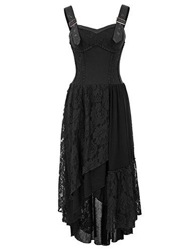 Women Punk Party Dress Gothic Sleeveless Irregular Lace Dress Black XX-Large