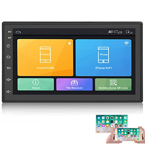 Android Double Din Car Radio with Bluetooth GPS Navigation WiFi 7' LCD Touch Screen Head Unit Support iOS Android Phones Mirror Link/Dual USB/FM/Backup Camera Input(Black)