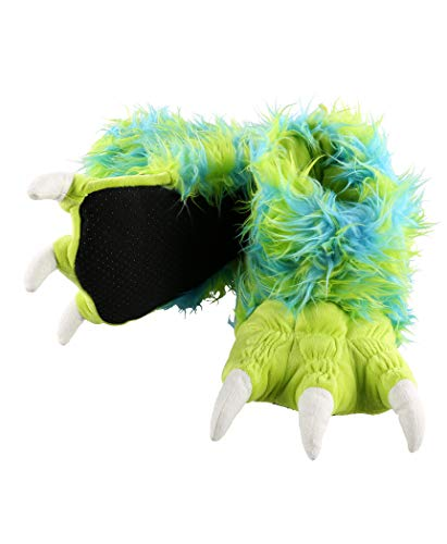 Lazy One Animal Paw Slippers for Kids and Adults, Fun Costume for Kids, Cozy Furry Slippers (Monster Green, X-Small)