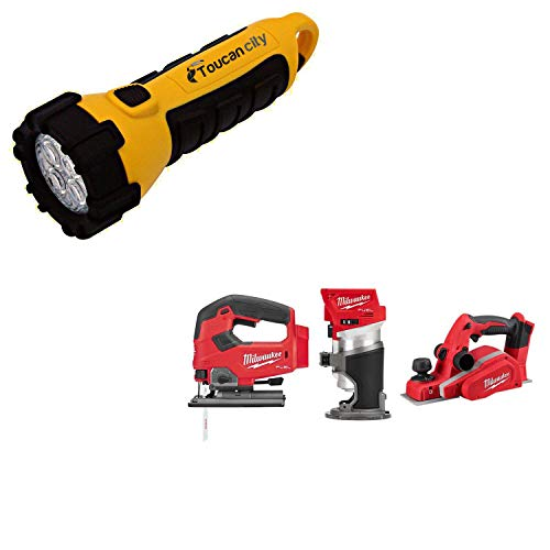 Toucan City LED Flashlight and Milwaukee M18 FUEL 18-Volt Lithium-Ion Brushless Cordless Jig Saw/Compact Router/3-1/4 in. Planer Combo Kit (3-Tool) 2737-20-2723-20-2623-20