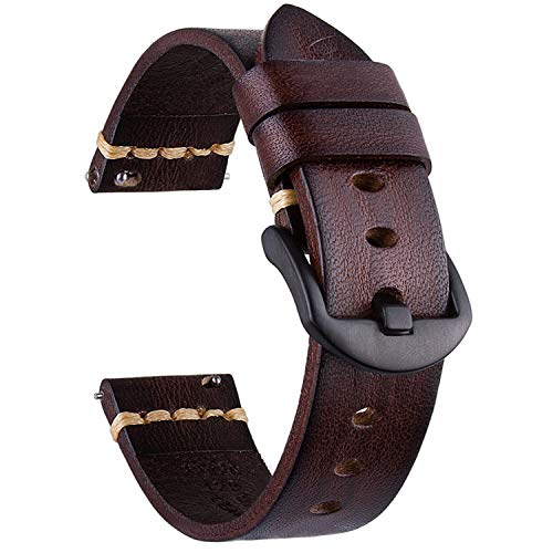 Vikoros Leather Watch Bands, Compatible with Samsung Galaxy Watch 46mm/Gear S3 Frontier/Fossil Q Explorist/Q Marshal Gen 2 Classic Watch Band 22mm