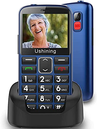 Ushining Unlocked Senior Cell Phones 3G AT&T Big Button Feature Phones Hearing Aids Compatible Easy-to-Use Basic Mobile Phones for Elderly with Charging Dock(Blue)