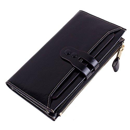 Men Wallet Leather Zip Elegant Unisex Handbag Fashion Purse Phone Holder Black