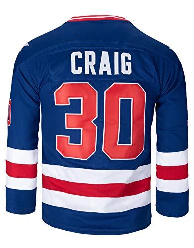 Youth 1980 USA Olympic #21 Mike Eruzione #17 O'Callahan #30 Jim Craig Miracle On Ice USA Hockey Jersey (30 Blue, Large)