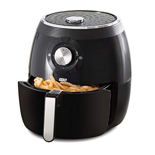 Dash DFAF455GBBK01 Deluxe Electric Air Fryer + Oven Cooker with Temperature Control, Non-stick Fry Basket, Recipe Guide + Auto Shut Off Feature, 1700-Watt, 6 Quart, 6qt, Black