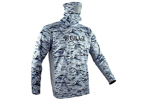 Gillz Men's ProStriker LS UV Fishing Shirt with Built in Mask (Stormy Seas, Large)