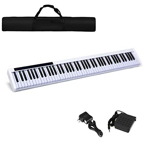 Costzon 88-Key Portable Digital Piano,Touch Sensitive Knocking Force Key Piano with External Speaker, Bluetooth Voice Function, MIDI Keyboard, Sustain Pedal, Power Supply and a Black Handbag (White)