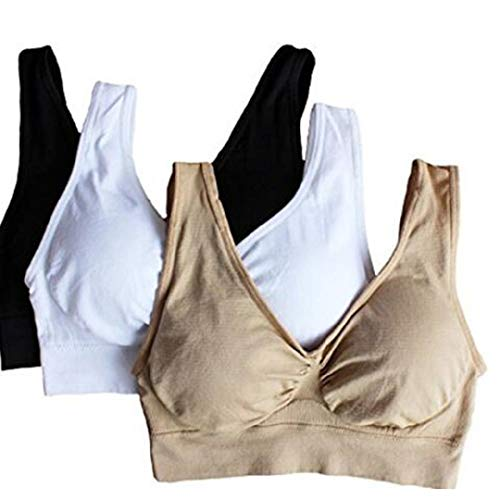 Hottime 3-Pack Seamless Sports Bra Wirefree Yoga Bra with Removable Pads for Women Black Nude & White X-Large