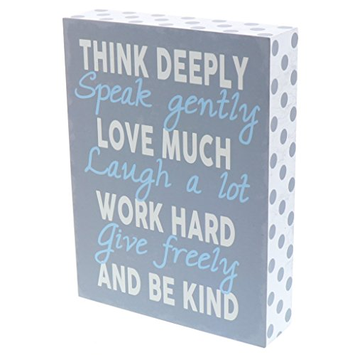 Barnyard Designs Think Deeply Speak Gently Love Much Box Wall Art Sign, Primitive Country Farmhouse Home Decor Sign with Sayings 8' x 6'