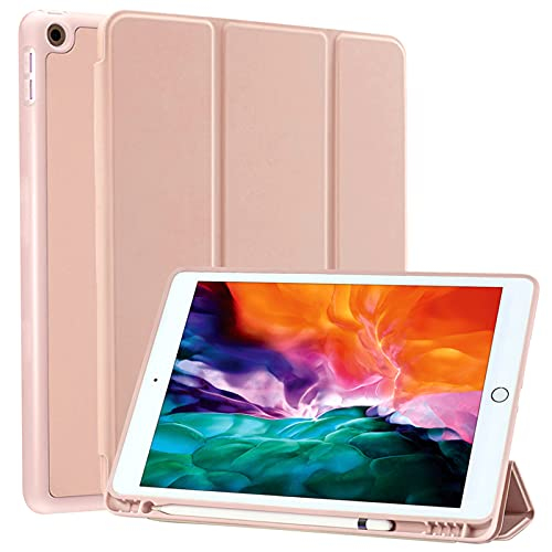 SIWENGDE Compatible for iPad 8th Gen(2020)/7th Generation(2019) Case with Pencil Holder, iPad 10.2 Case for Kids, Slim Soft Silicone Smart Trifold Stand Full Body Protective Cover (Rose Gold)