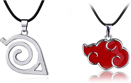 Master Online (2 Pack) Naruto Red Cloud Necklace and Leaf Symbol Logo Pendant Necklace (A)