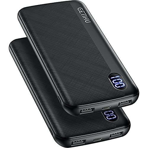 GETIHU Portable Charger, 2-Pack Slimmest 10000mAh USB C Triple 2.4A High-Speed LED Display Power Bank, External Battery Pack Compatible with iPhone 12 11 X 8 Plus Samsung S20 Google LG iPad Tablet etc