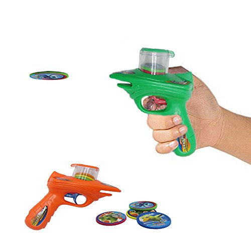 Disc Shooter   Kids 2 Foam Disc Laucher with 8 Foam Discs Each Shooter, Shoots Discs up to 20 Feet. No Batteries Required. Dazzling Toys