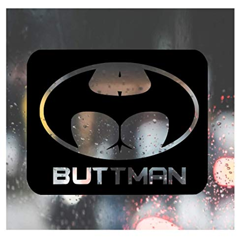 Custom Decal Car for Buttman (Batman) Logo for Car, Truck, Jeep, Funny, Tumbler, Window, Motorcycle, Helmet, Bumper, Decal for Laptop, Phone, Home Decoration / 2.5 in x 3.5 in / Black