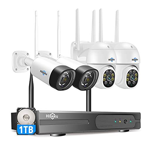 Hiseeu Wireless Security Camera System 3MP PTZ Cameras and Bullet Cameras Mobile&PC Remote,Outdoor IP66 Waterproof,Night Vision,7/24/Motion Record,Motion Alert,Two Way Audio