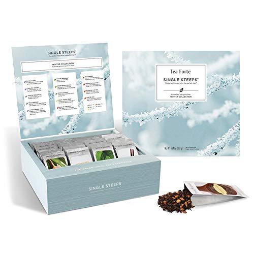 Tea Forte Winter Teas Single Steeps Tea Chest Variety Gift Box, Loose Tea Sampler with 28 Assorted Teas, Black Tea, Chai Tea, Herbal Tea, Green Tea, White Tea