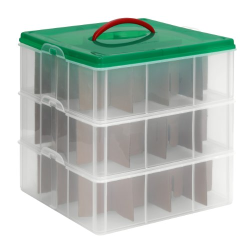 Snapware Snap 'N Stack Square 3-Tier Seasonal Ornament Storage Container, 13 by 13-Inch, Holds 48 Ornament Balls