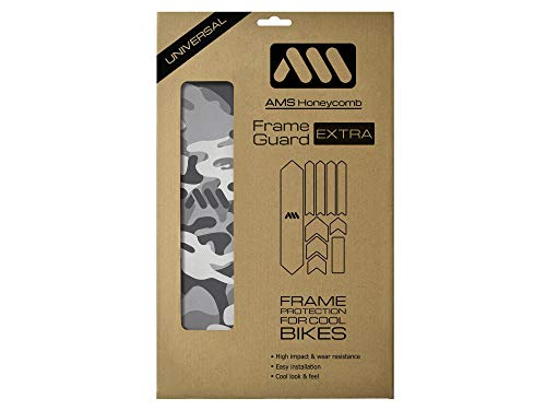 All Mountain Style AMSFG2BLWH Honeycomb High Impact Frame Guard Extra - Protects Your Bike from Scratches and dings, Clear/Camo