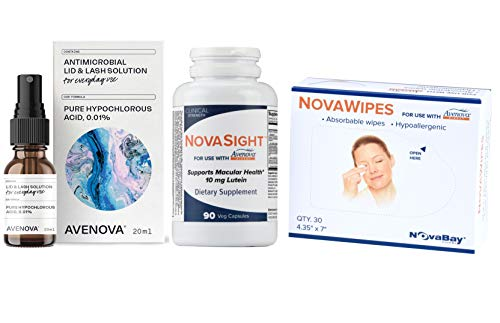 Avenova Eyelid & Lash Cleanser with NovaSight and NovaWipes, Effective Relief from Dry Eyes, Styes and Blepharitis