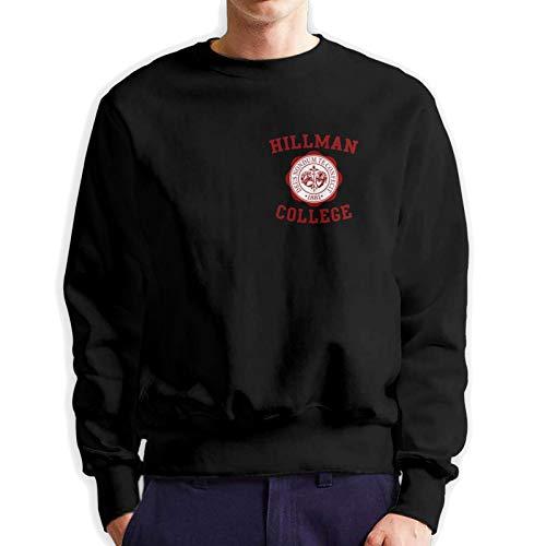 Hillman College Logo Men'S Long Sleeve Crew Neck Pullover Printed Black