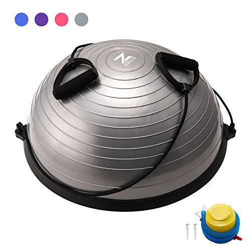 Z ZELUS Balance Ball Trainer Half Yoga Exercise Ball with Resistance Bands and Foot Pump for Yoga Fitness Home Gym Workout (Gray)