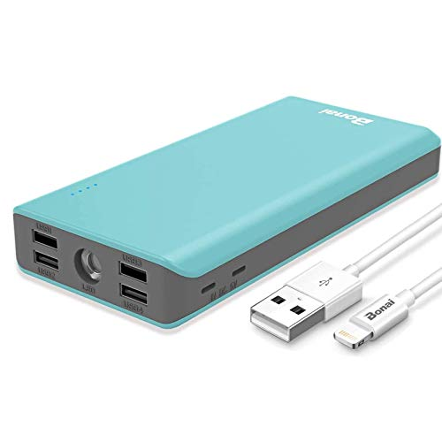 Portable Charger 30000mAh, BONAI External Battery Pack 5.6A 4-Port Output (Ultra High Capacity)(Flashlight)(Outdoor), Polymer Fast 4A Input Power Bank for iPhone iPad Samsung Galaxy and More - Mint