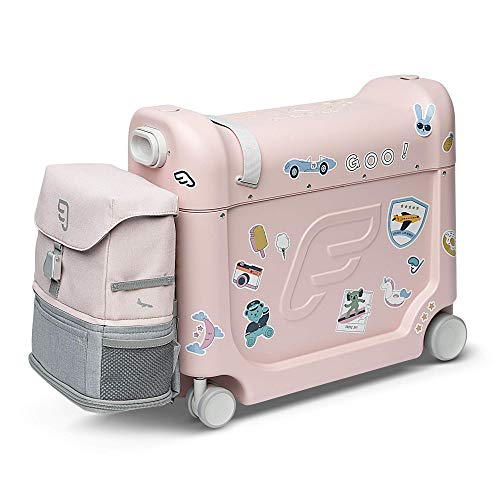 JetKids by Stokke Travel Bundle, Pink - Includes Kid's Ride-On Suitcase & In-Flight Bed + Adjustable, Lightweight & Expandable Crew BackPack - Travel Essentials for Kids - Best for Ages 2-7