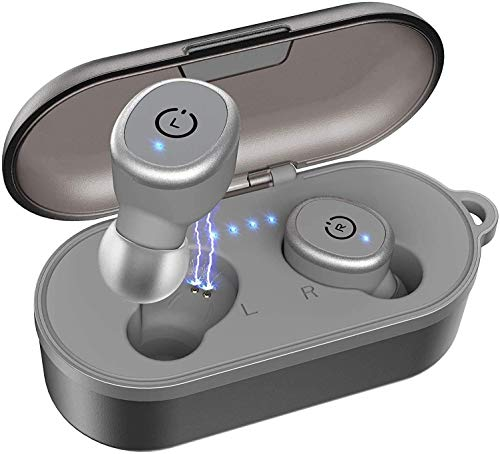 TOZO T10 Bluetooth 5.0 Wireless Earbuds with Wireless Charging Case IPX8 Waterproof Stereo Headphones in Ear Built in Mic Headset Premium Sound with Deep Bass for Sport Gray