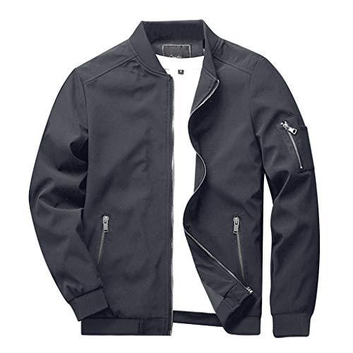 CRYSULLY Men's Jackets Bomber Varsity Fall Winter Coats Outwear with Ribbing Edge Dark Grey