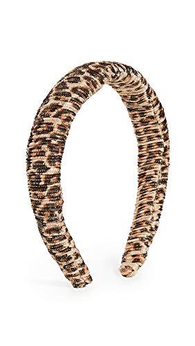 Loeffler Randall Women's Marina Puffy Headband, Leopard, Print, Tan, One Size