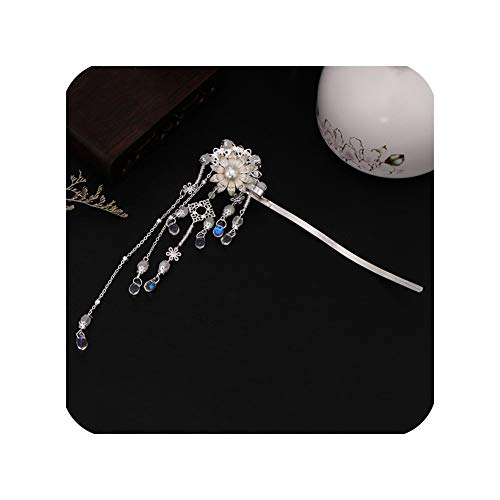Chinese Style Long Tassel Flower Crystal Hair Sticks Hairpin For Girl Bride Bridal Wedding Hair Jewelry,As Show