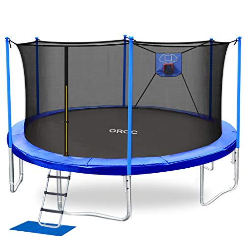 ORCC Trampoline 15 14 12 10FT Basketball Trampoline with Safety Enclosure Net, Ladder, Rain Cover, Basketball Hoop and Ball for Backyard, Outdoor Trampoline for Kids Adults(15FT)