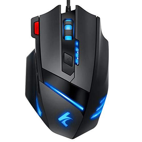 Hcman Gaming Mouse Wired,Programmable 7 Buttons,[Upgraded Version] Led Backlit & 5 DPI Mode,Comfortable Grip with Fire Button,USB Laptop Computer Gaming Mice,for PC MAC Gamers (Black)