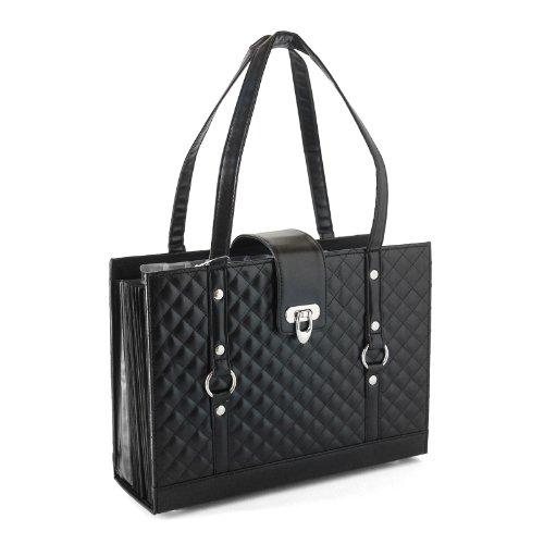 Fashion File Organizer Tote with Classy Black Faux Leather